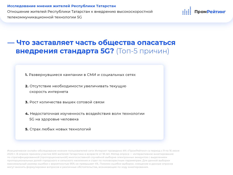 Исследование отношения жителей Республики Татарстан к внедрению сетей 5G