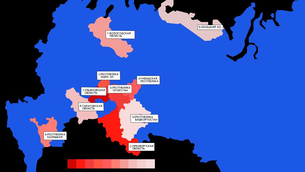 Карат регионов АУЕ в Европейской части России 2020